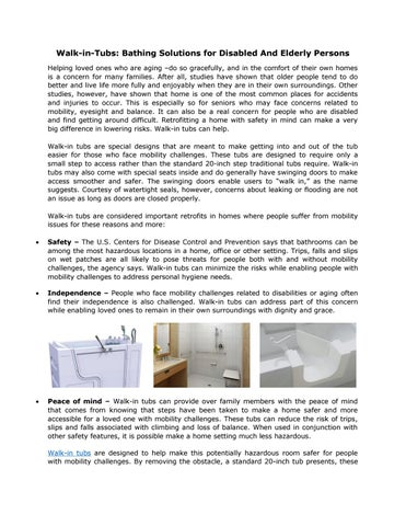 Walk-in-Tubs: Bathing Solutions for Disabled And Elderly Persons ...