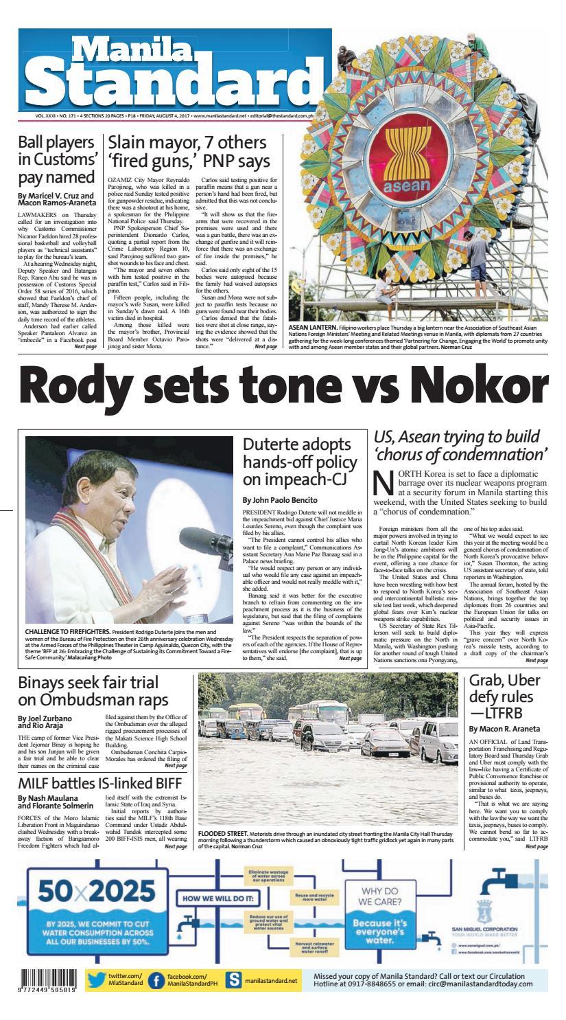 d9c0a3892020 Manila Standard - 2017 August 04 - Friday by Manila Standard - issuu