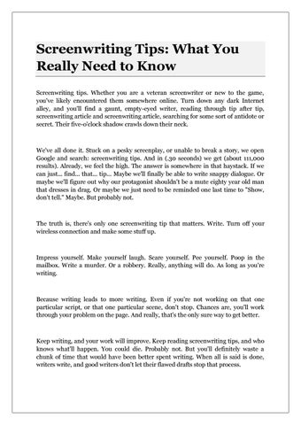 Screenwriting tips what you really need to know by Helene
