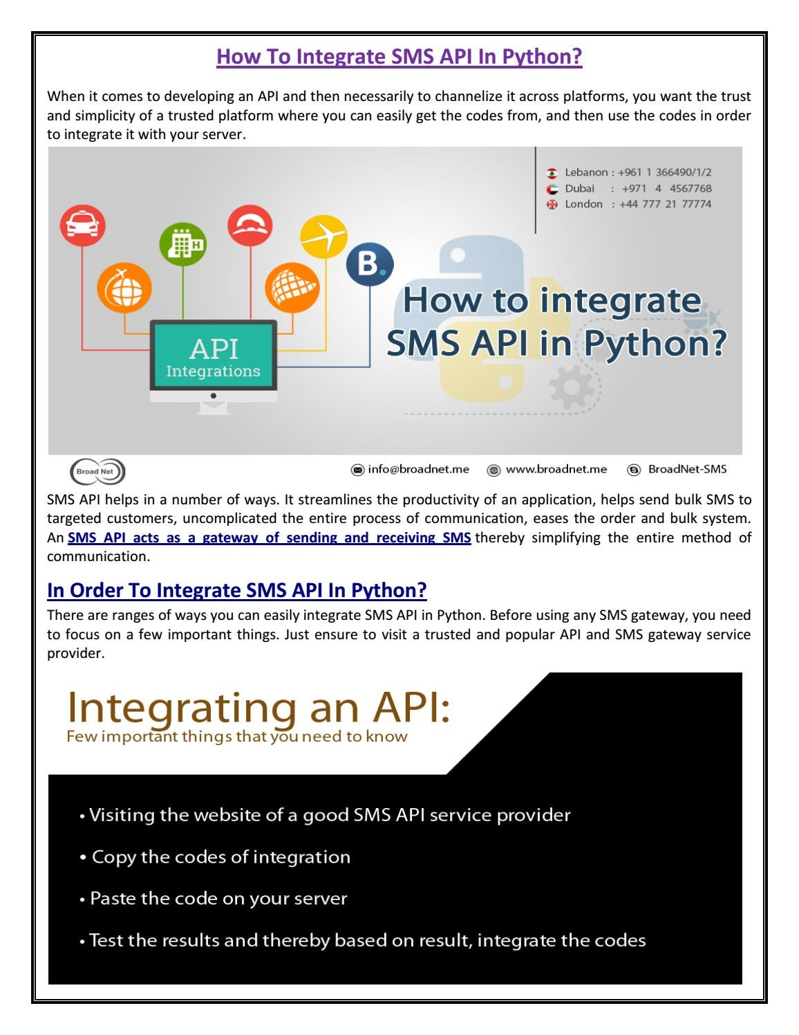 How to integrate sms api in python by BroadNet Technologies