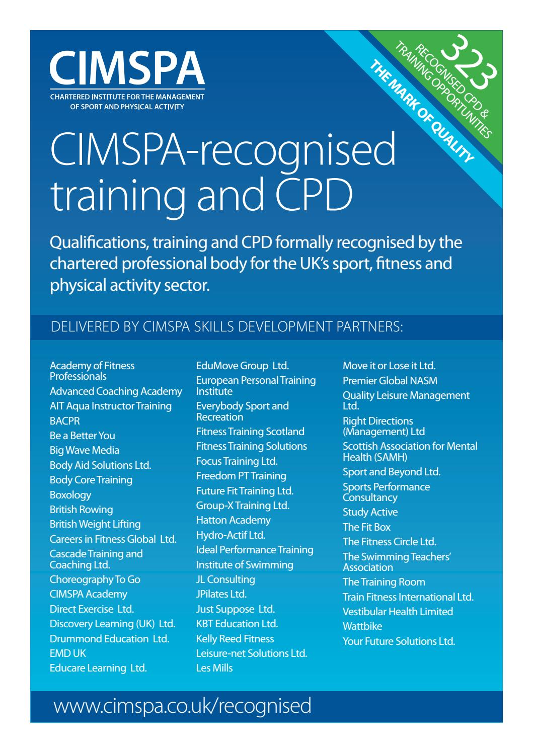 cf23c963ec8 CIMSPA recognised training and CPD by CIMSPA - issuu