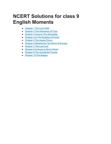 Ncert solutions for class 9 english moments by ncertsolutions - issuu