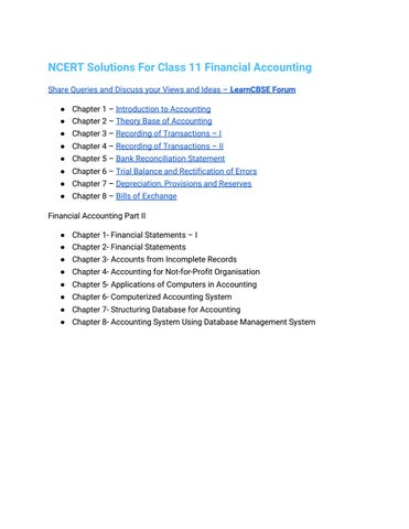 Ncert solutions for class 11 financial accounting by