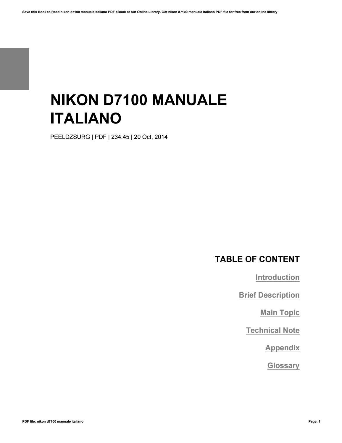 manuale italiano pdf nikon d7100