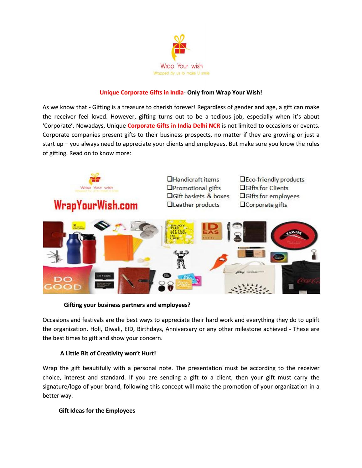 Find vast range of Unique Corporate Gifts in India- Only