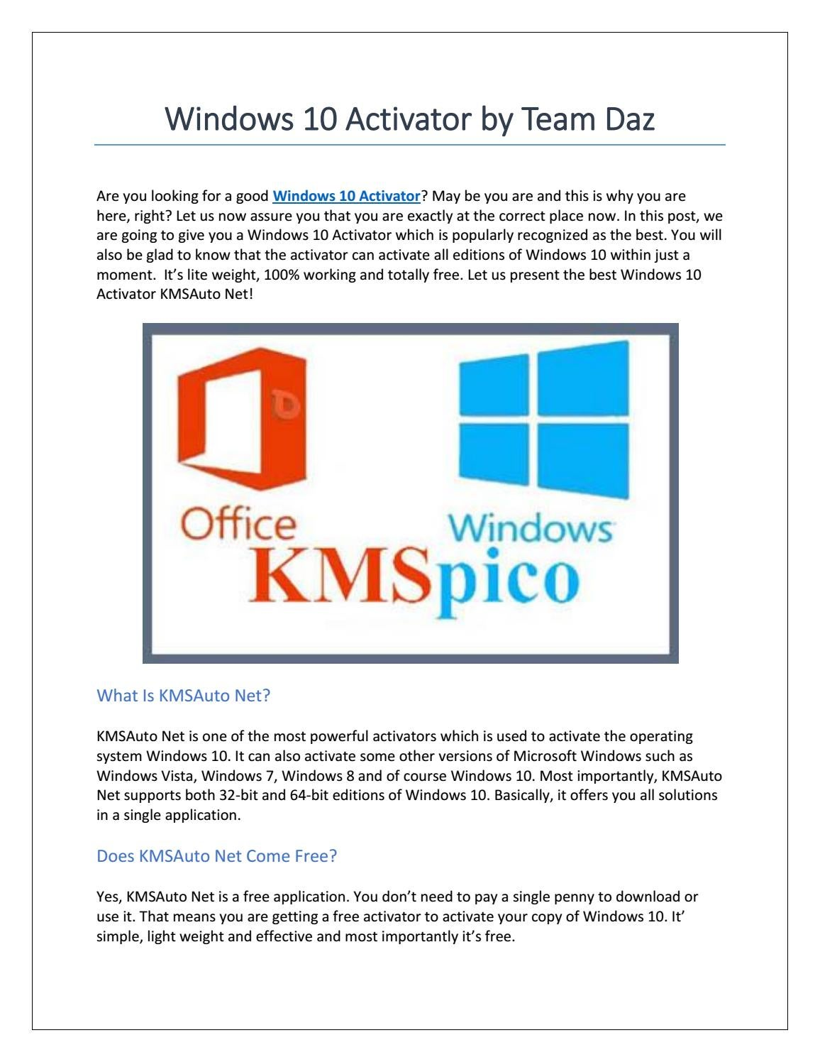 kmspico activate windows 10