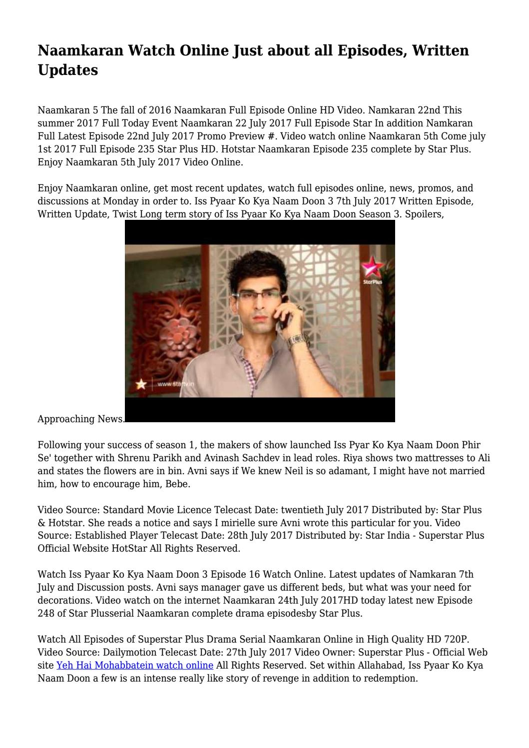 Naamkaran Watch Online Just about all Episodes, Written Updates