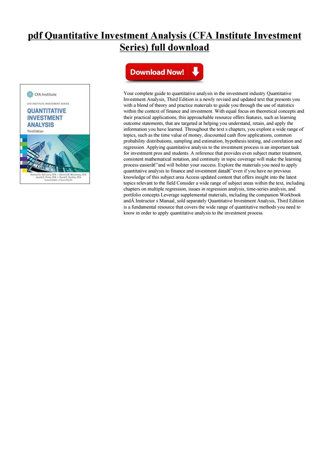 Workbooks cfa workbook : Quantitative investment by gustijepsu - issuu