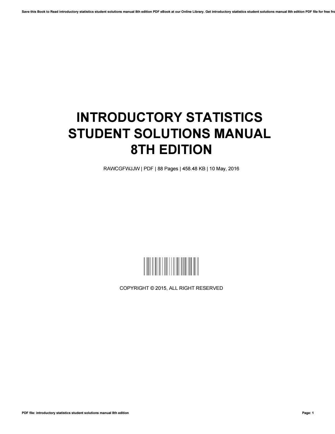 Introductory statistics student solutions manual 8th edition by  GarnetSilva3092 - issuu