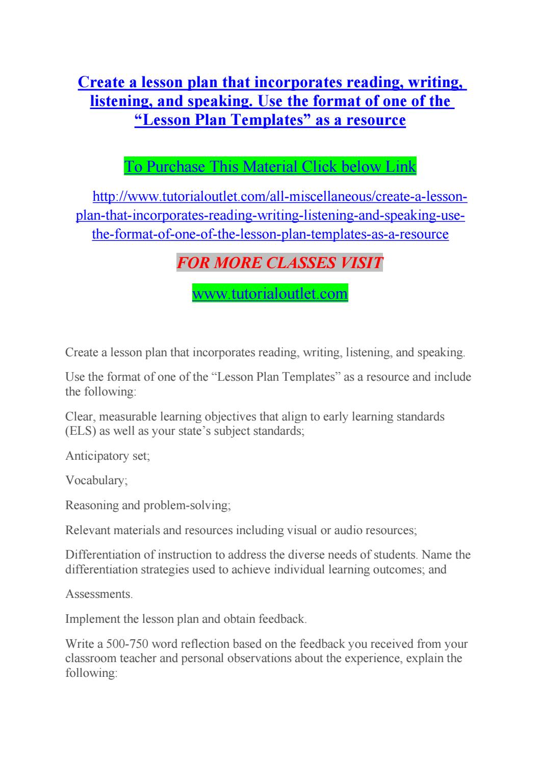 Create a lesson plan that incorporates reading, writing