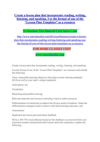 Create A Lesson Plan That Incorporates Reading Writing Listening