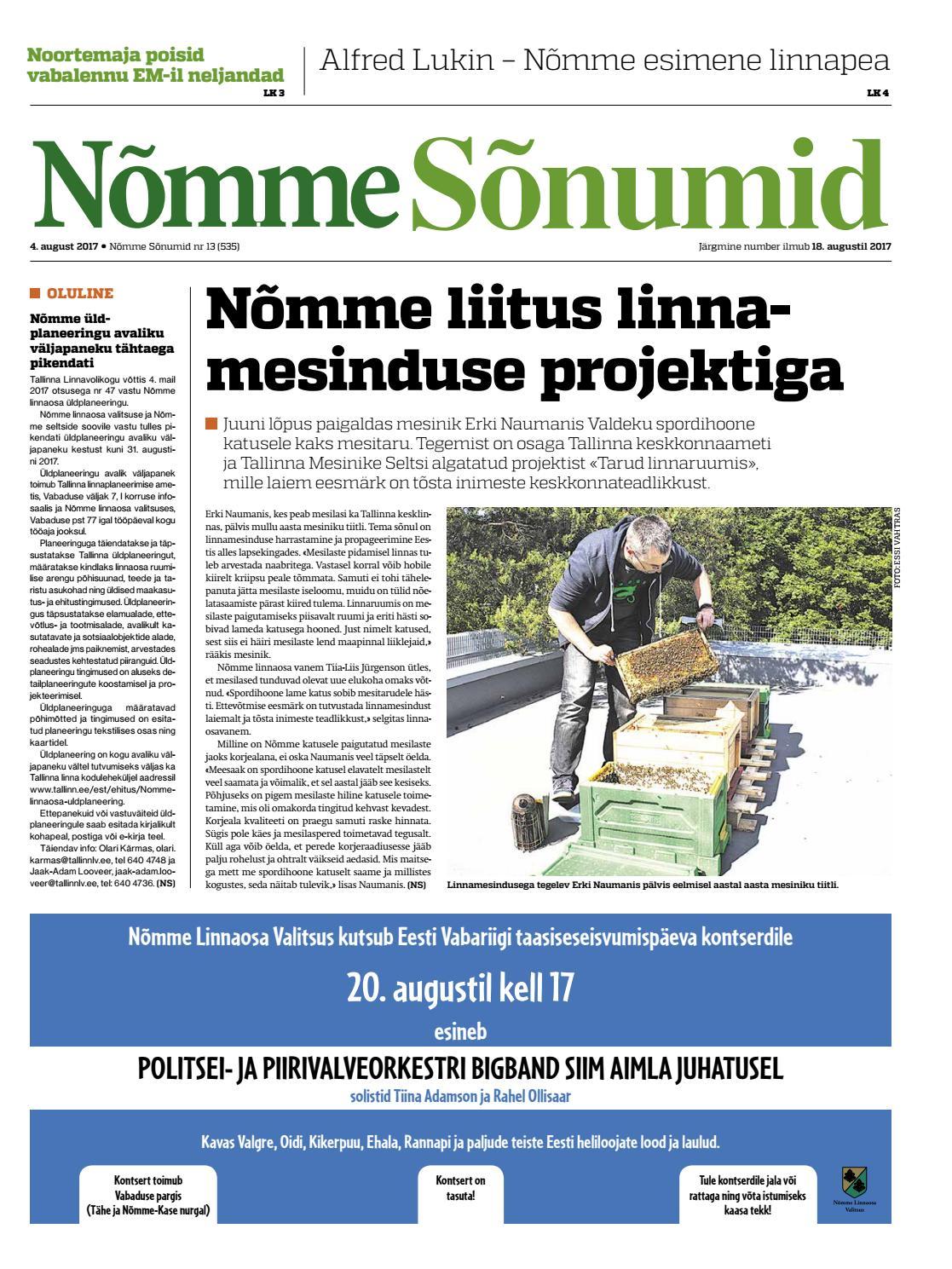7f57c343f49 Nõmme Sõnumid nr 13 (2017) by Nõmme linnaosa - issuu