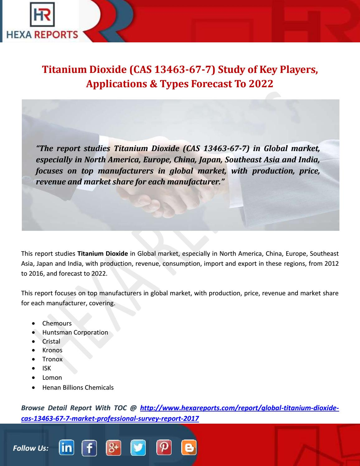 Titanium Dioxide (CAS 13463-67-7) Study of Key Players, Applications