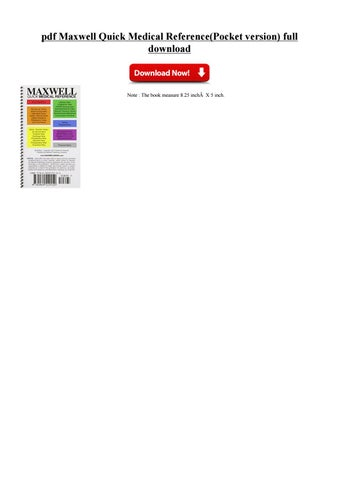 Maxwell quick medical by cipsefasti issuu pdf maxwell quick medical referencepocket version full download pdf maxwell quick medical referencepocket version free download pdf maxwell quick fandeluxe Image collections