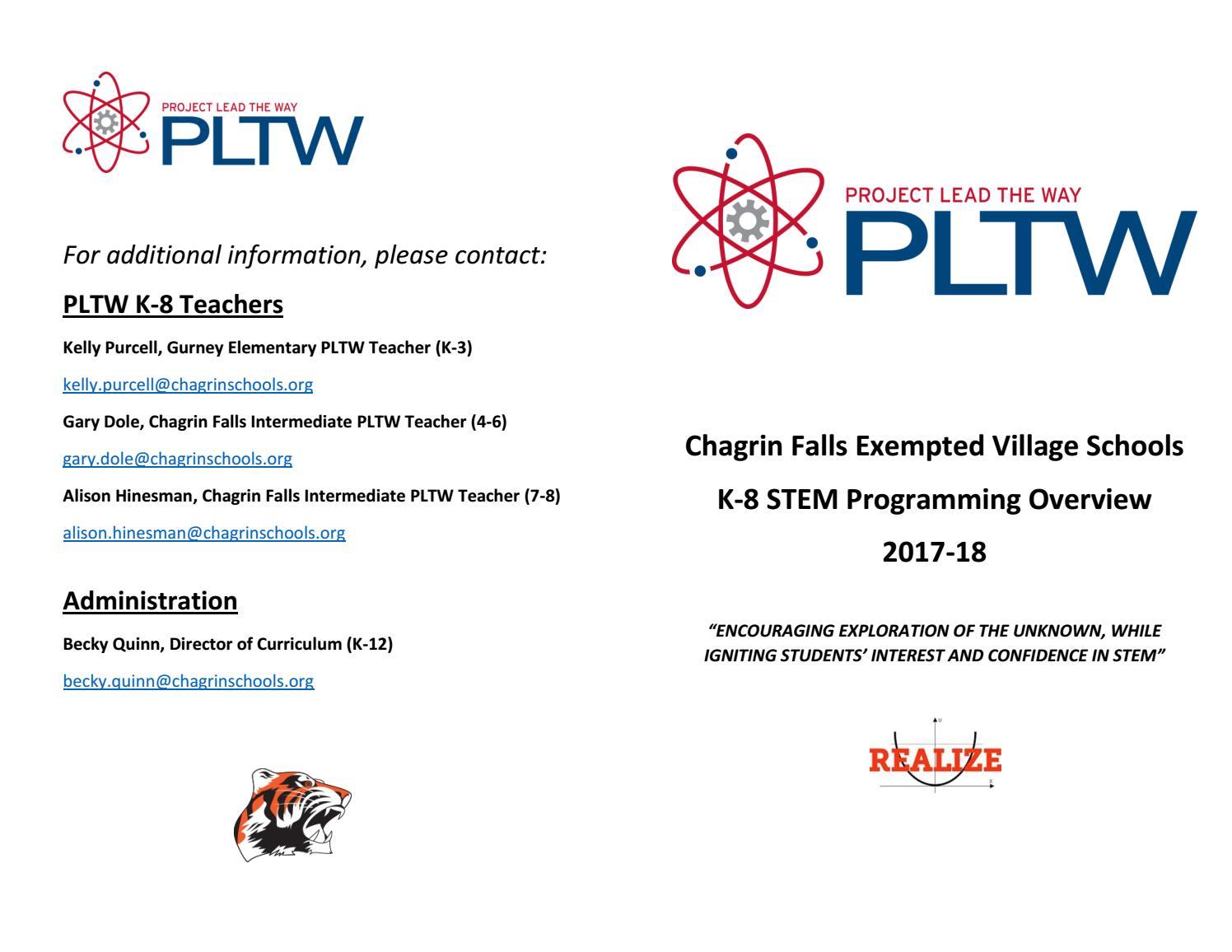 PLTW Chagrin Falls Schools brochure by Becky Quinn - issuu
