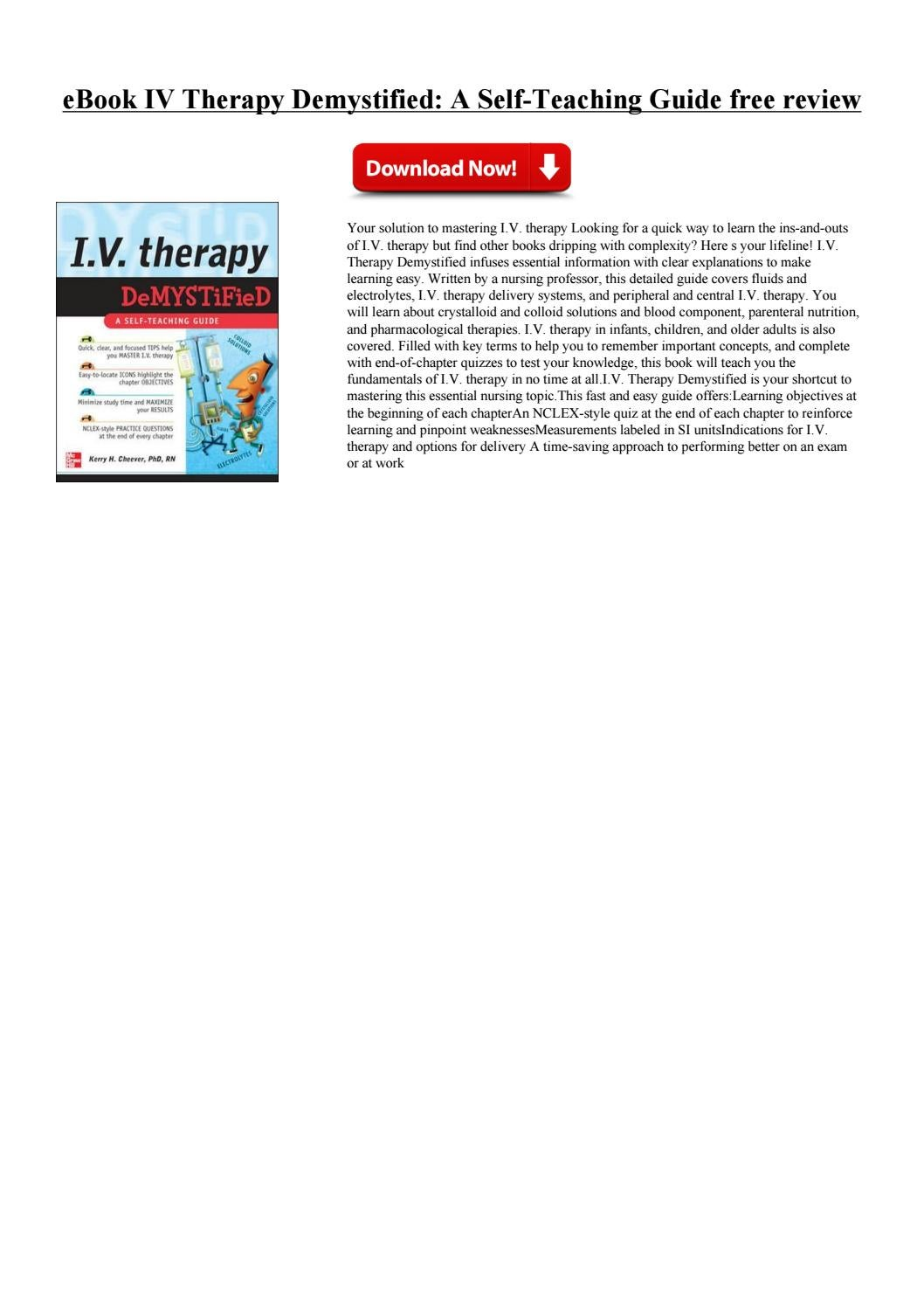 IV Therapy Demystified - A Self-Teaching Guide