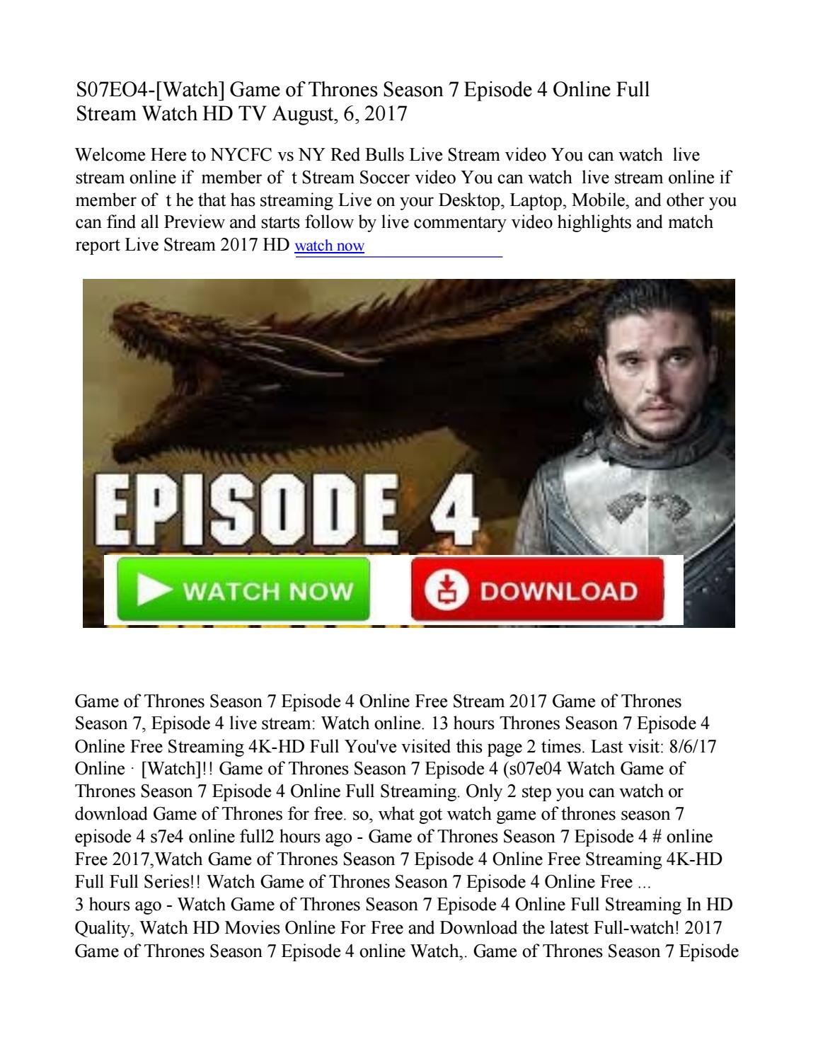 $$+STREAM-S07E04!!!watch Game of Thrones Season 7 Episode 4 Online HBO TV by Sheila Karasan - Issuu