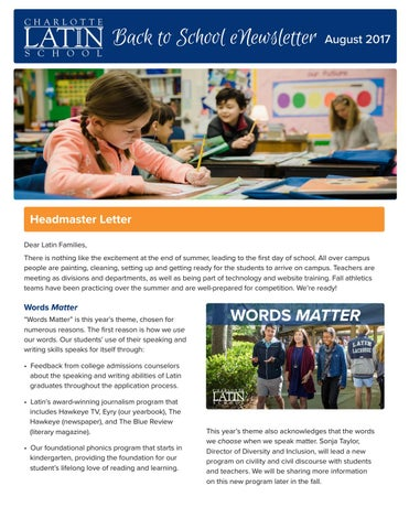 Back To School Enewsletter By Charlotte Latin School Issuu