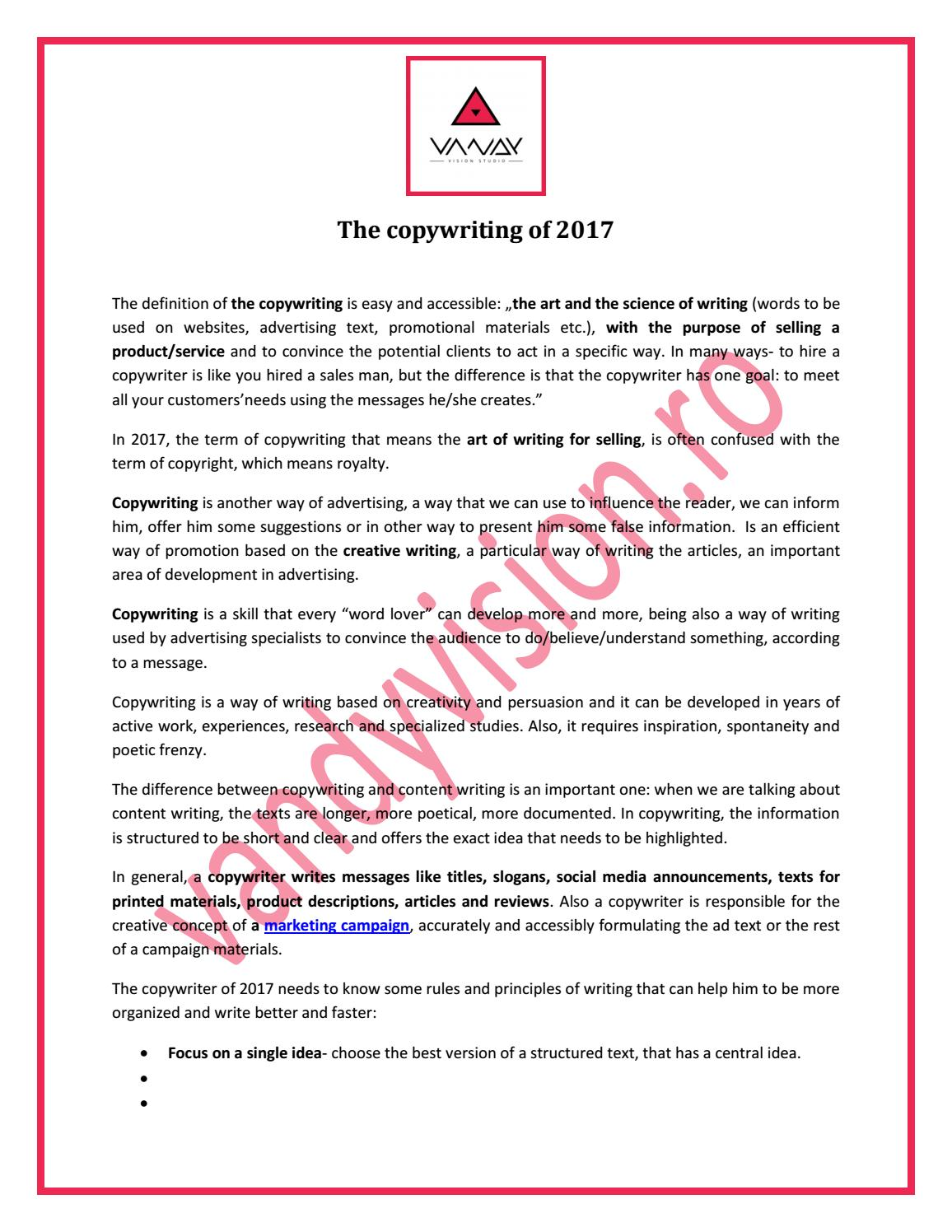 The copywriting of 2017 by Vandy Vision - issuu