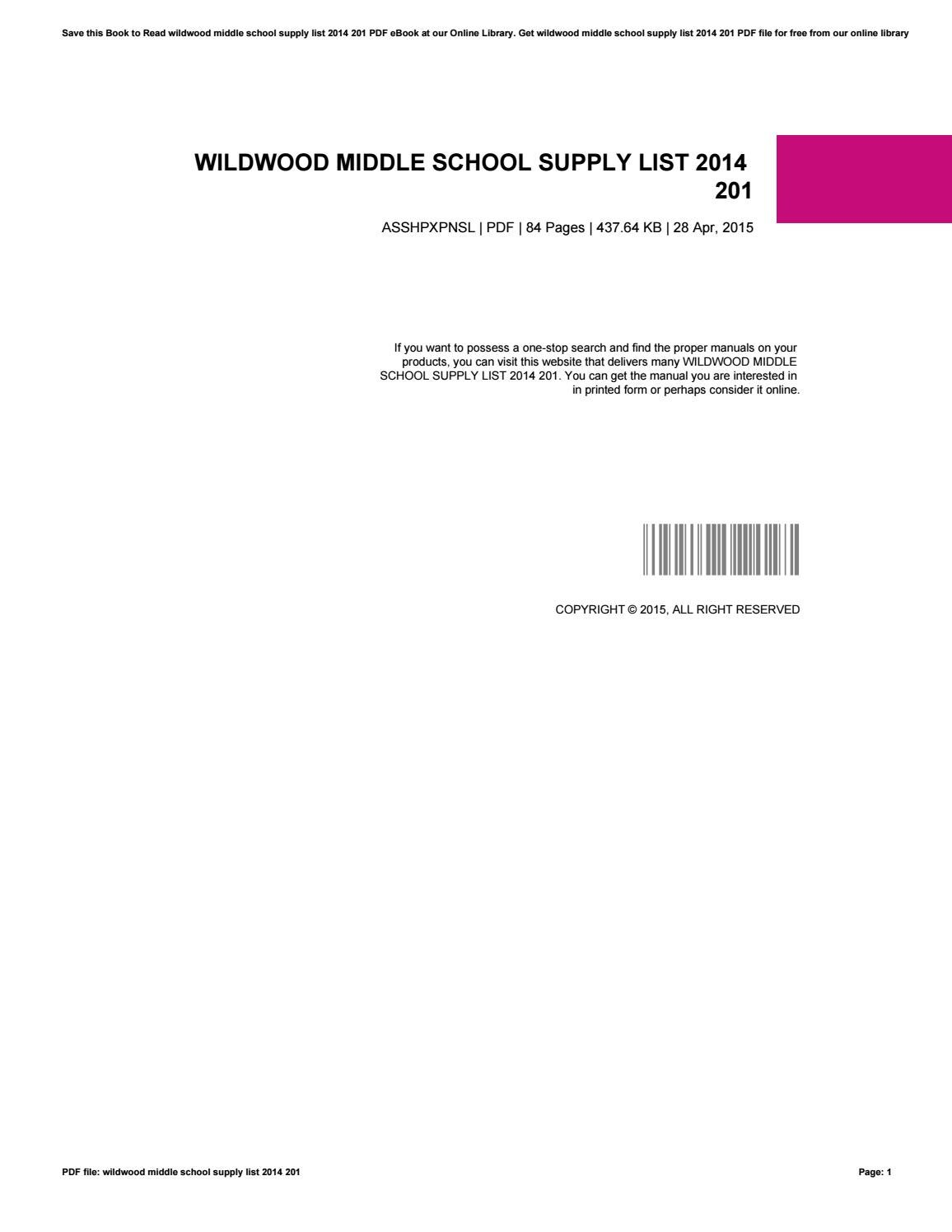 Wildwood Middle School Supply List 2014 201 By Nickolasbernardo1600