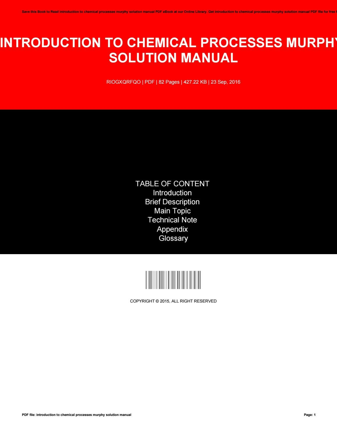 Introduction to chemical processes murphy solution manual by JohnKoenig1763  - issuu