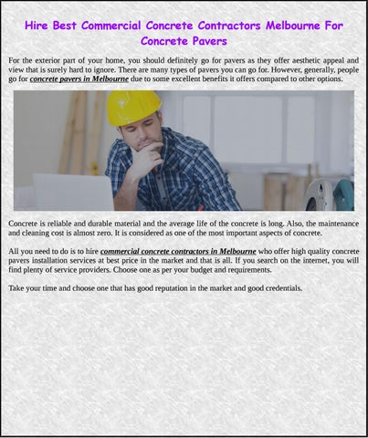 Hire best commercial concrete contractors melbourne for