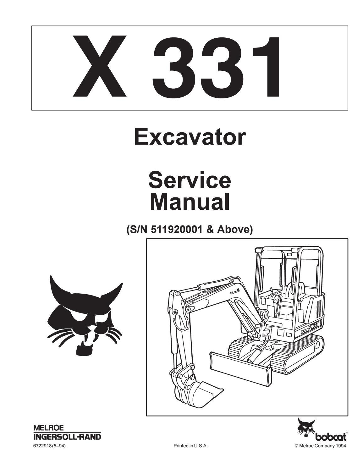 Bobcat 331 Compact Excavator Service Repair Manual Sn 511920001 Fuel Gauge Wiring Diagrams Above By Yjfhsne Issuu