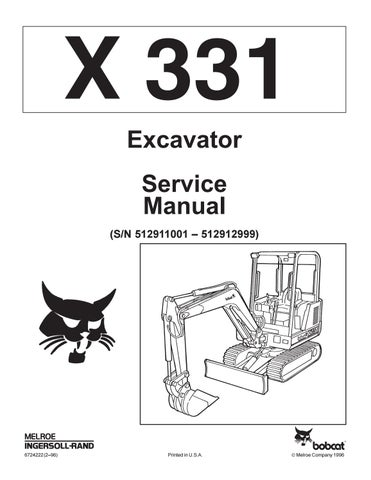 Bobcat 331 Compact Excavator Service Repair Manual By Yjfhsne