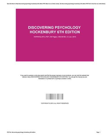 Discovering Psychology Hockenbury Pdf
