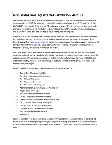 Travel agencies email lists article by william - issuu