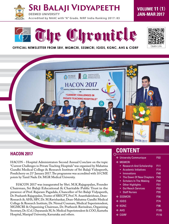 The Chronicle Vol 11 1 Jan Mar 2017