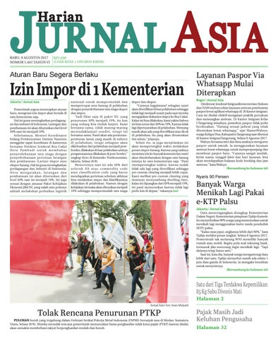 Harian Jurnal Asia Edisi Rabu 09 Agustus 2017 By Harian Jurnal Asia