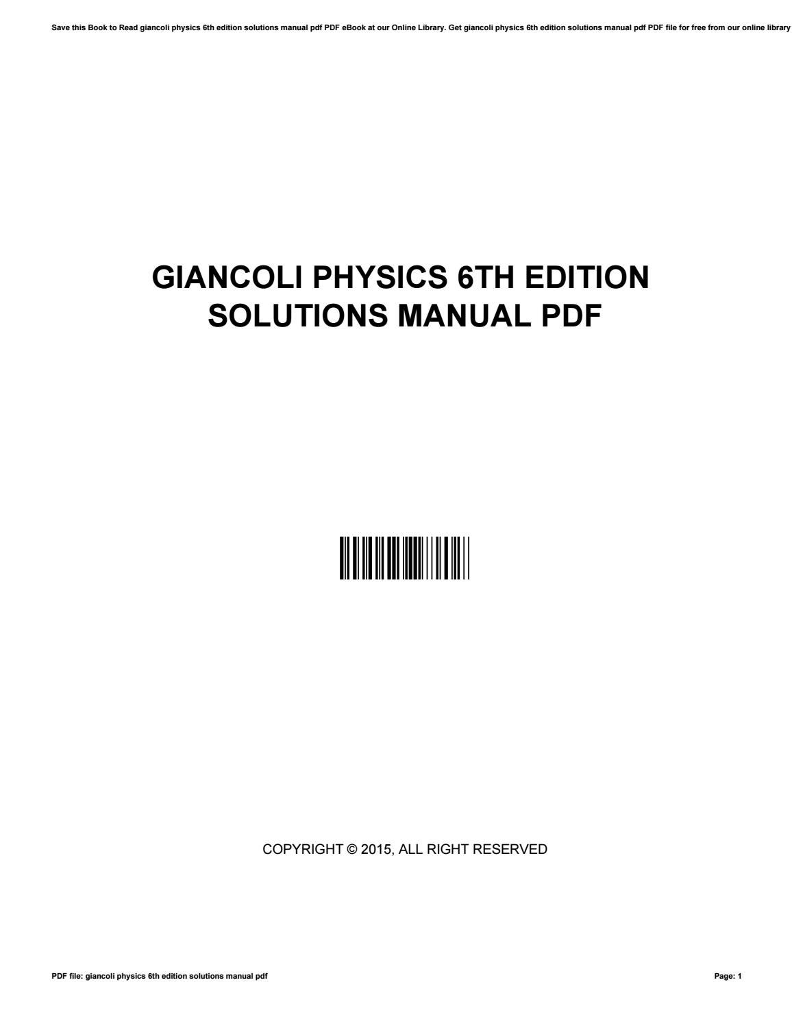 Giancoli physics 6th edition solutions manual pdf by NicoleLewis1556 - issuu