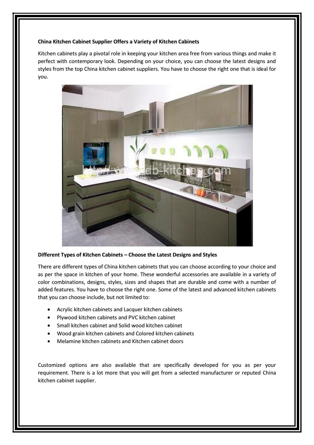 China Kitchen Cabinet Supplier Offers A Variety Of Cabinets By Dabankitchen Issuu