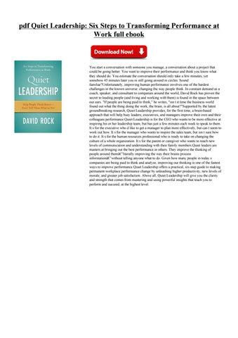 Quiet Leadership Pdf