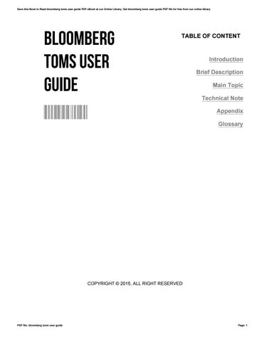 bloomberg toms user guide by lilaschulz2947 issuu rh issuu com Toms Bloomberg User Guide Bloomberg Toms Logo