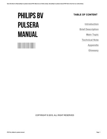philips bv pulsera manual by julieharmon4042 issuu rh issuu com philips bv libra user manual philips bv pulsera service manual