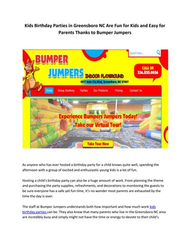 Kids Birthday Parties In Greensboro Nc Are Fun For And Easy Parents Thanks To Bumper Jumper