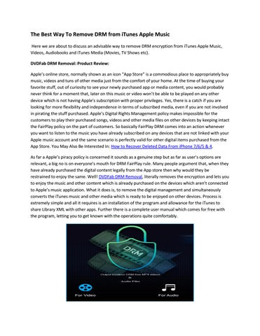 The best way to remove drm from itunes apple music by victorhan - issuu