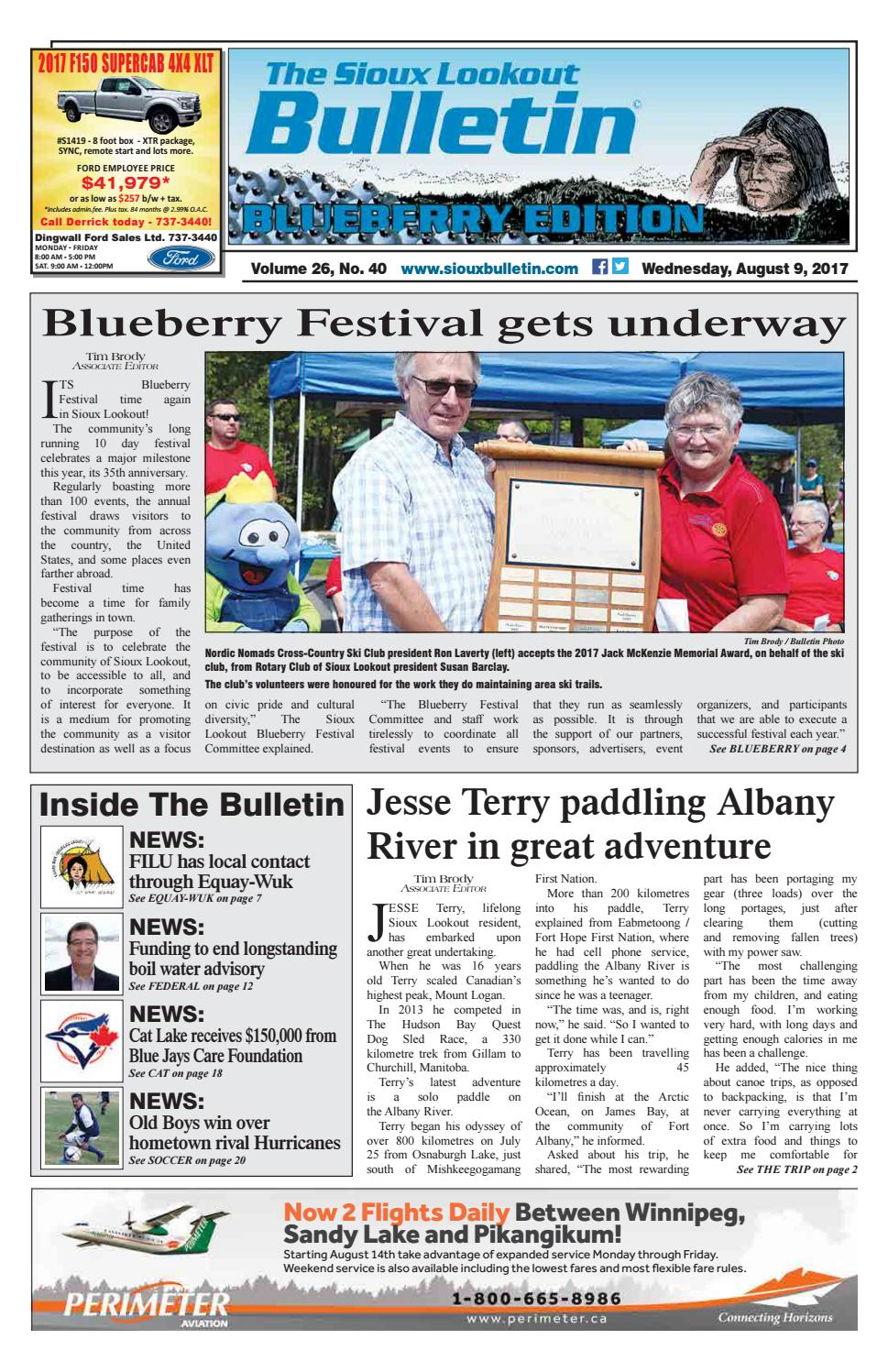 The Sioux Lookout Bulletin - Vol  26, No  40, August 9, 2017