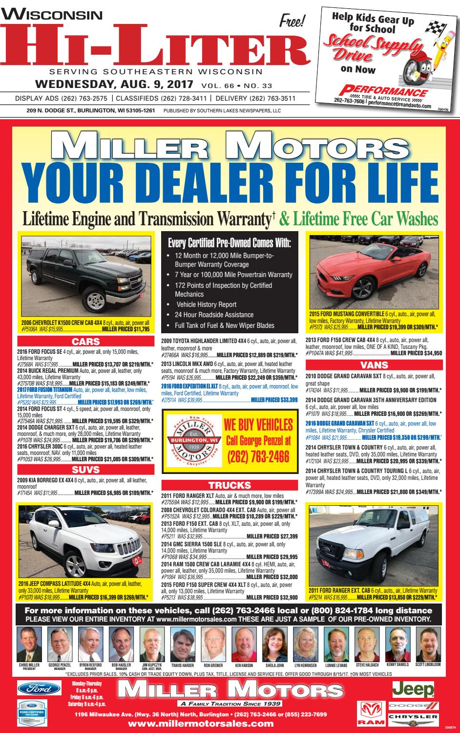 Miller Motors Burlington Wisconsin >> Wihl 8 9 17 By Southern Lakes Newspapers Rock Valley Publishing