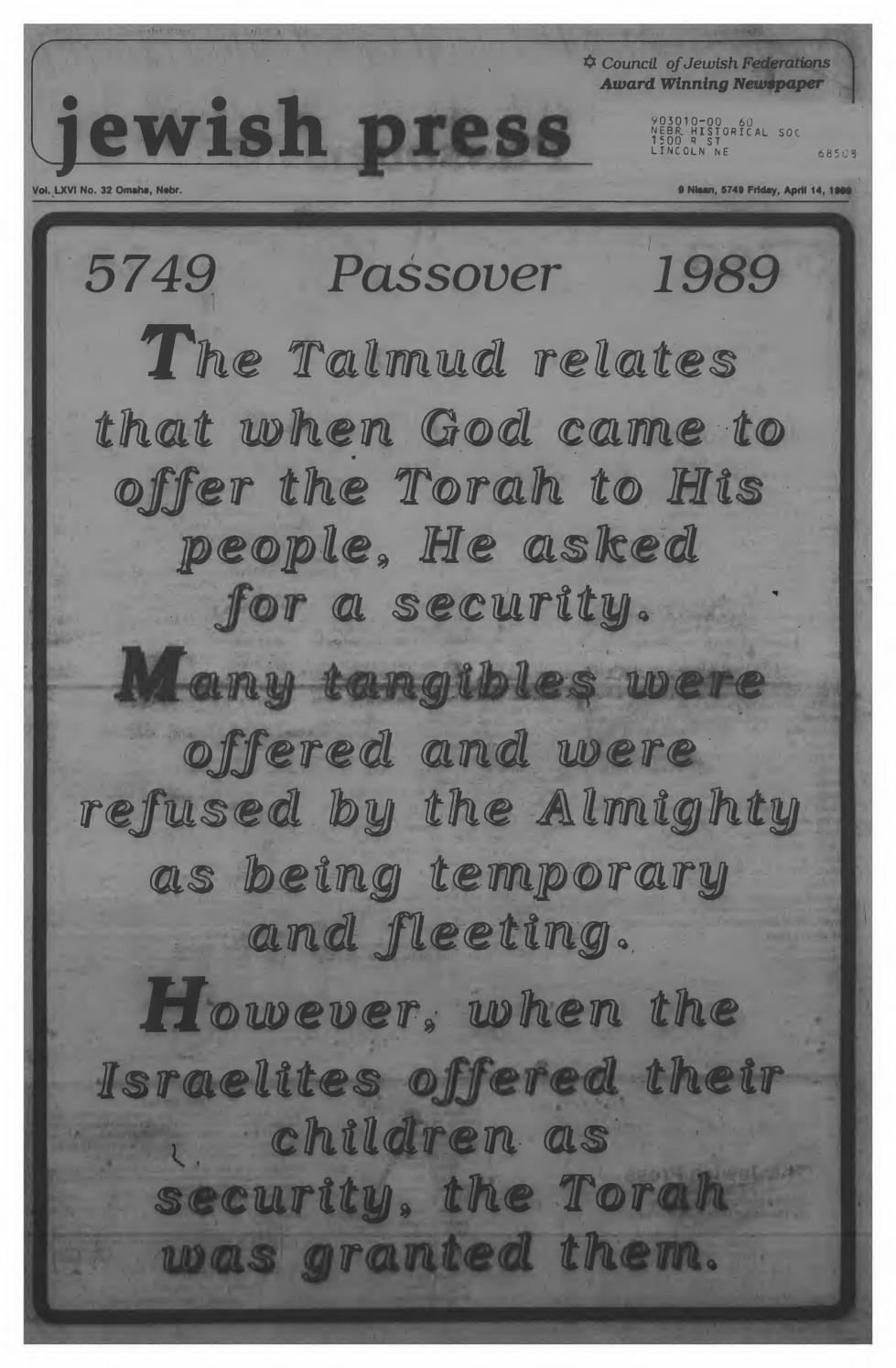 April 14 1989 Passover Edition By Jewish Press Issuu