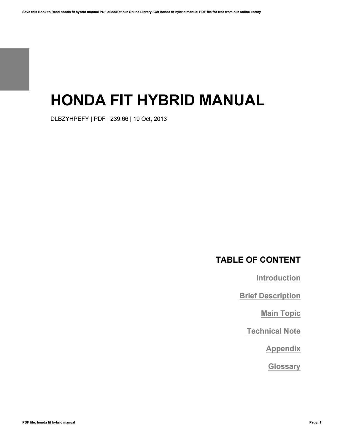 Honda Fit Hybrid Manual By Dorahill4842 Manual Guide