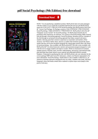 Social Psychology Aronson 9th Edition Pdf