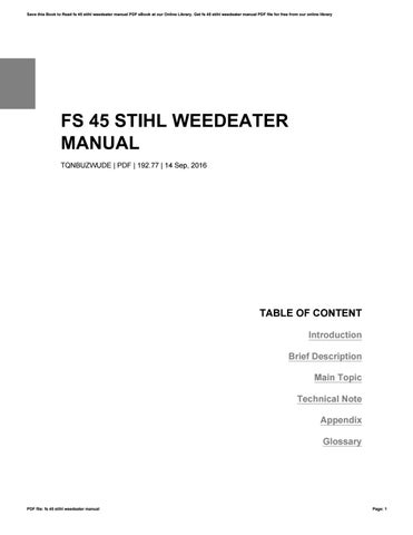 Stihl weedeater fs45 manual by charles issuu cover of fs 45 stihl weedeater manual publicscrutiny Choice Image