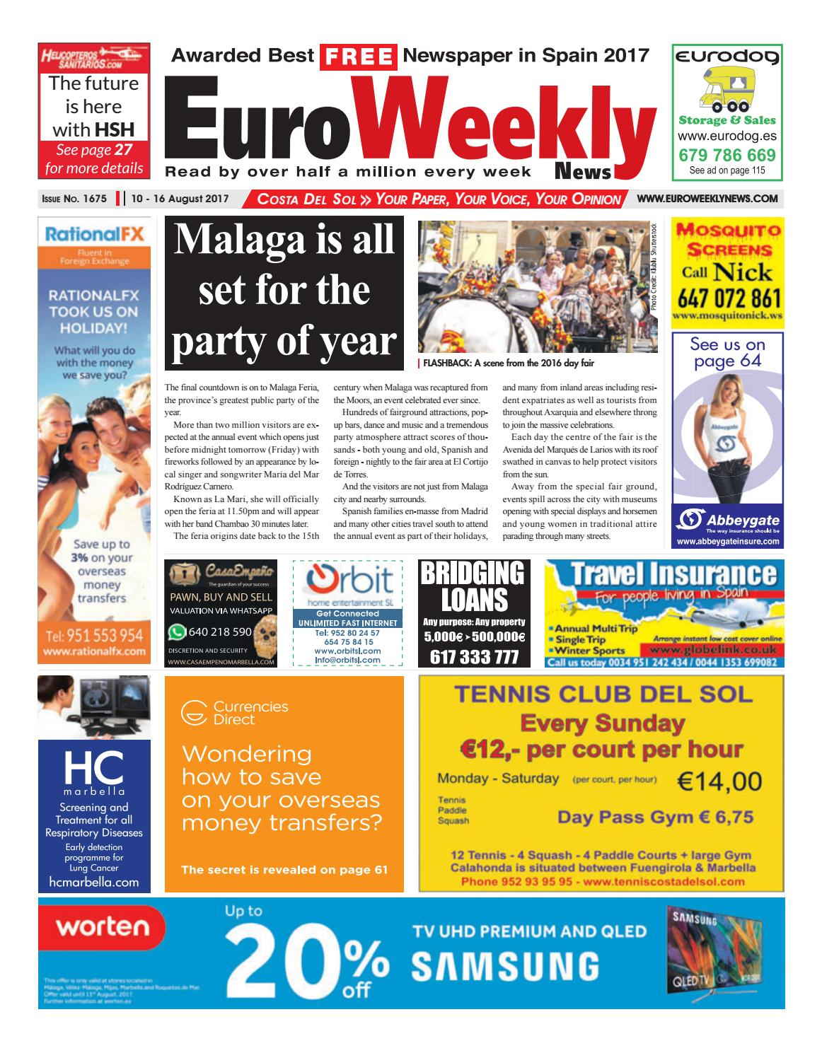 9f1917c22bea Euro Weekly News - Costa del Sol 10 – 16 August 2017 Issue 1675 by Euro  Weekly News Media S.A. - issuu