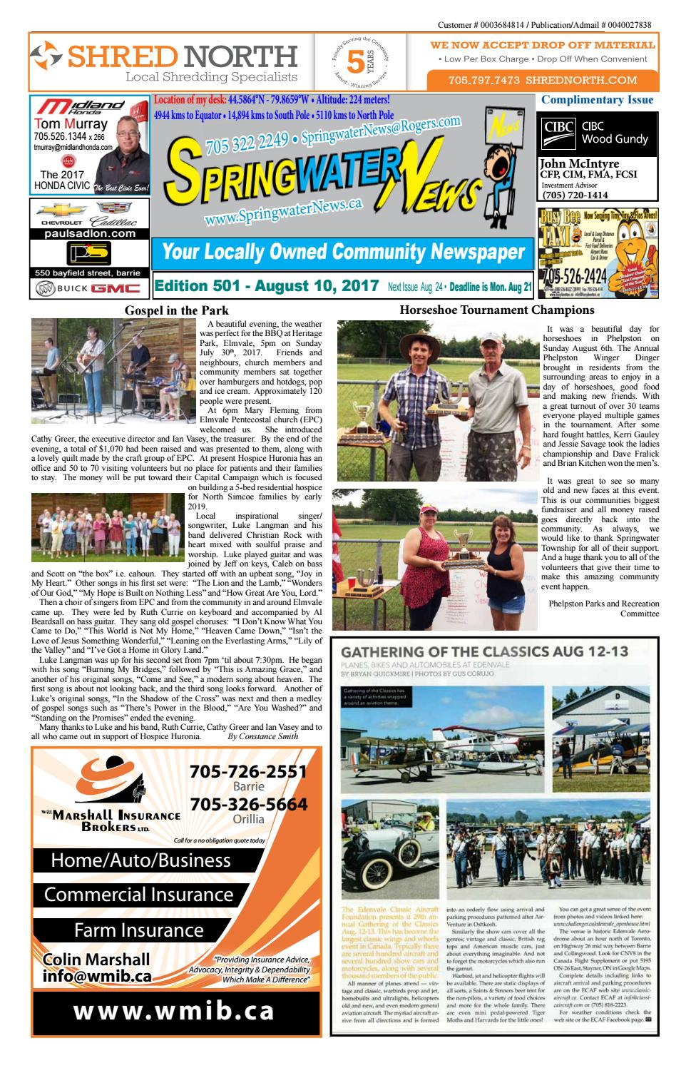 August 10 2017 edition 501 for web by Springwater News - issuu