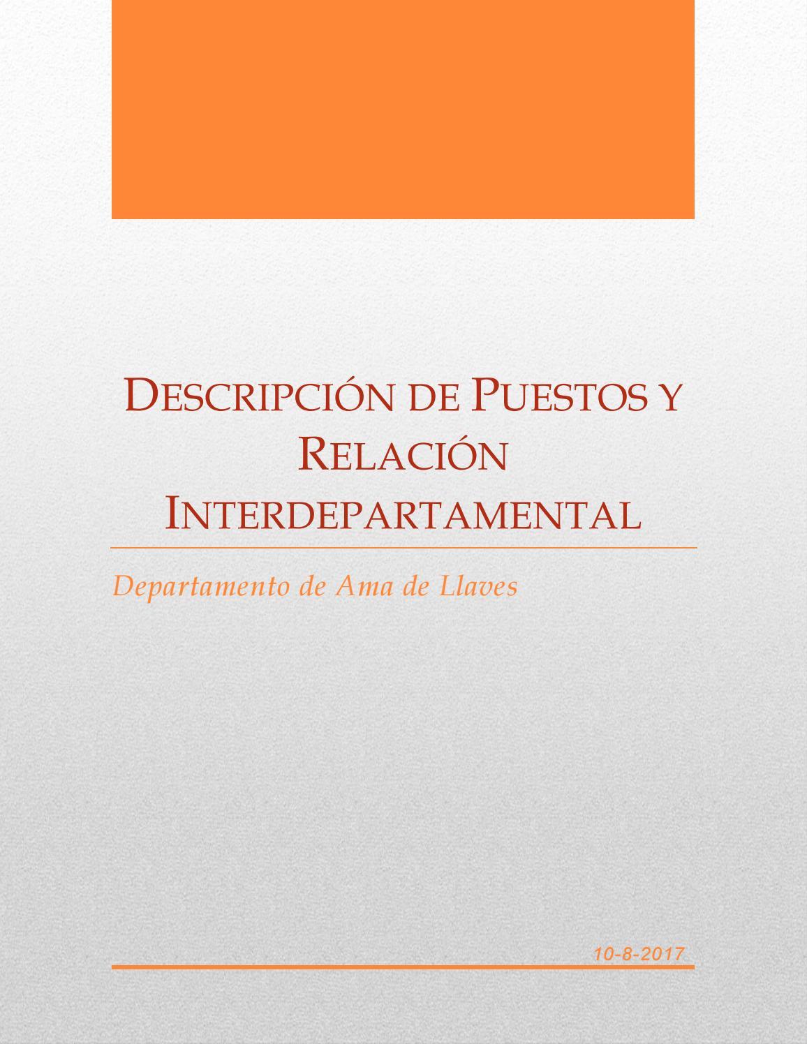 Descripcion de puestos y relación interdepartamental del ...