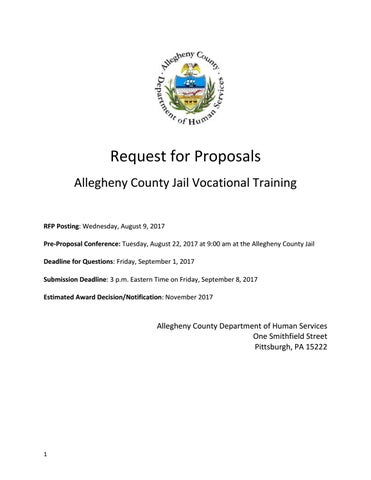 Rfp Allegheny County Jail Vocational Training By Acdhs Issuu