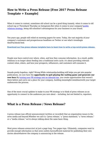 How To Write A Press Release [Free 2017 Press Release Template + Example]